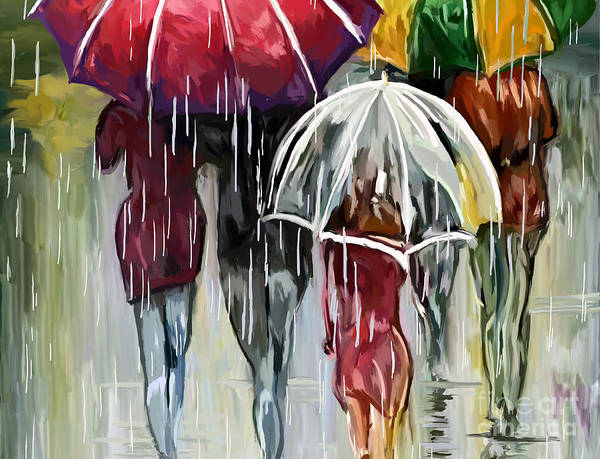 Walking In The Rain Wall Art - Painting - walking in the rain H by Tim Gilliland