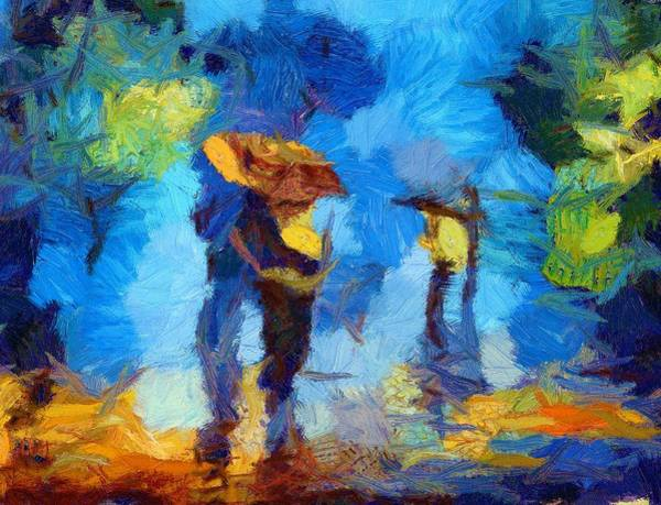 Painting - Walking In The Rain by Joy of Life Art Gallery