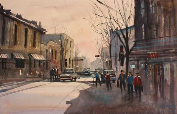 Street Scape Painting - Walking In The Shadows - Fond Du Lac by Ryan Radke