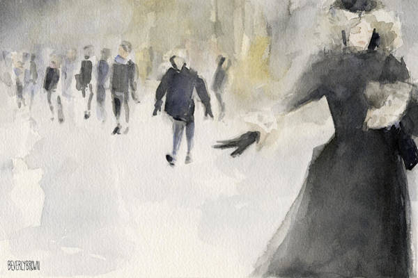 Urban Scene Painting - Walking In The Snow by Beverly Brown