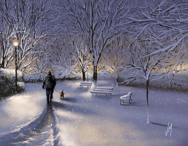 Winter Walk Painting - Walking In The Snow by Veronica Minozzi
