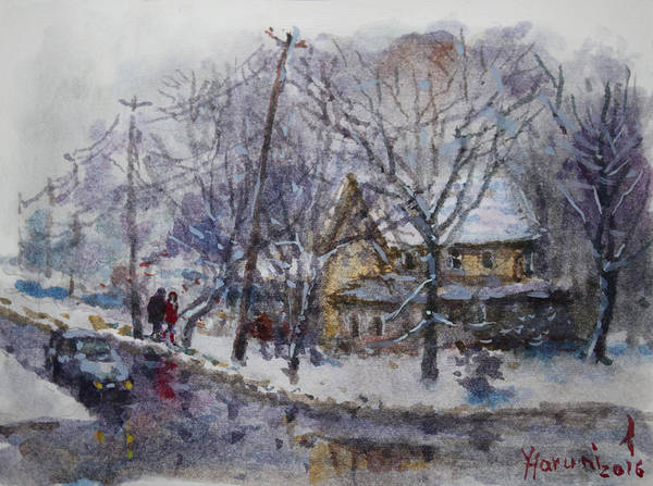 Viola And I Walking In The Winter Art Print