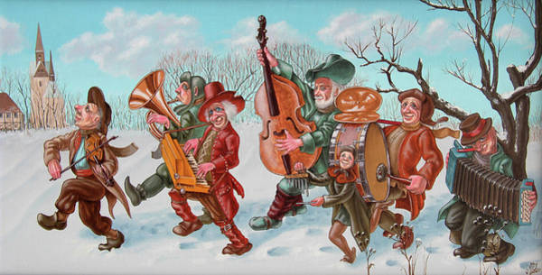 Painting - Walking Musicians by Victor Molev