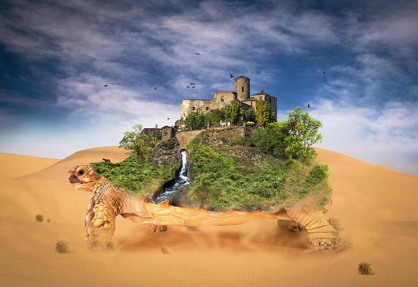 Sand Dunes Digital Art - Walking Oasis by Aged Pixel
