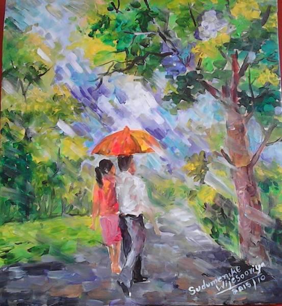 Wall Art - Painting - Walking On A Showring by Sudumenike Wijesooriya