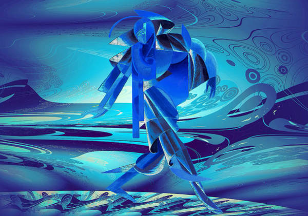 Digital Art - Walking On A Stormy Beach by Robert G Kernodle