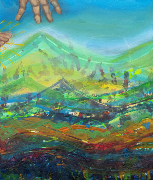 Scriptural Painting - Walking On Water Panel 3 by Anne Cameron Cutri