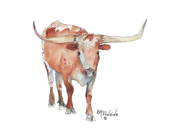 Longhorn Painting - Walking Tall Texas Longhorn Watercolor And Ink By Kmcelwaine by Kathleen McElwaine