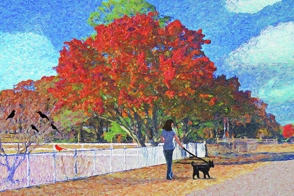 Lady In Waiting Painting - Walking The Dog In Fall Leaves by Le Artman