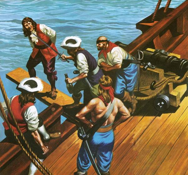 Condemned Wall Art - Painting - Walking The Plank by Ron Embleton