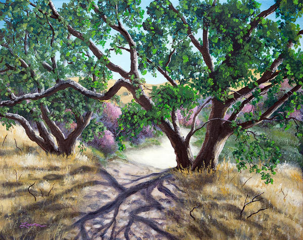 Wall Art - Painting - Walking Through The Oak Trees On A Sunny Day by Laura Iverson