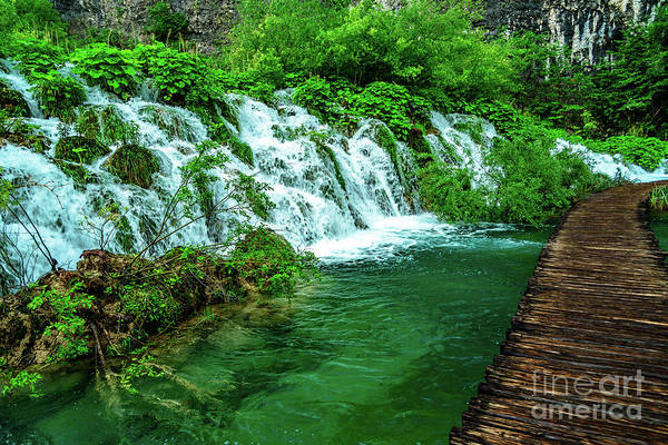 Photograph - Walking Through Waterfalls - Plitvice Lakes National Park, Croatia by Global Light Photography - Nicole Leffer
