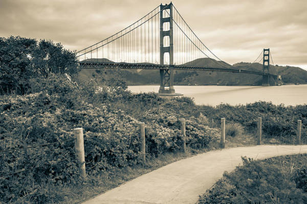 Photograph - Walking To The Golden Gate Bridge - California - Black And White by Gregory Ballos