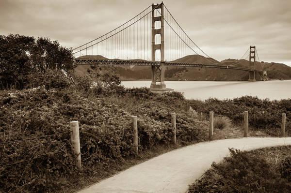Photograph - Walking To The Golden Gate Bridge - California - Sepia Edition by Gregory Ballos