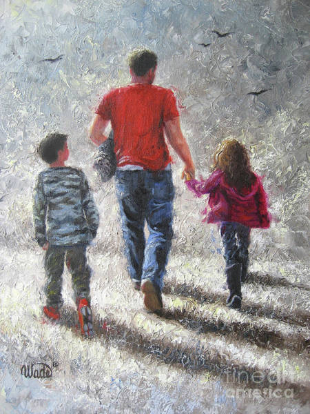 Father Wall Art - Painting - Walking With Dad by Vickie Wade