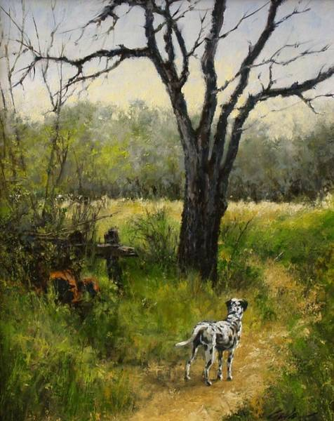 Stream Wall Art - Painting - Walking With Farley by Jim Gola