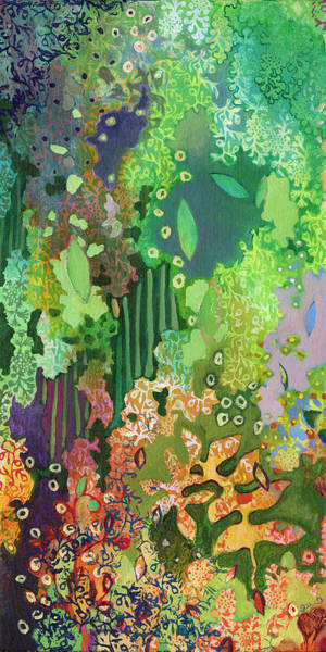 Abstract Garden Painting - Walking With The Forest Spirits Part I by Jennifer Lommers