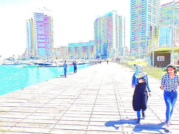 Arte Photograph - Walking Zeitounah Bay Beirut by Funkpix Photo Hunter
