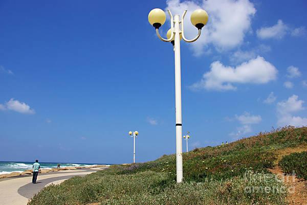Wall Art - Photograph - walkway along the Tel Aviv beach by Zal Latzkovich