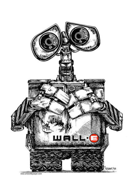 Ink Pen Drawing - Wall-e by James Sayer