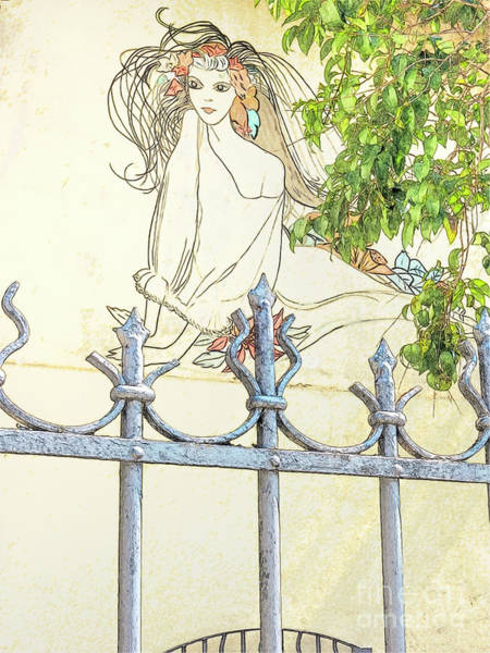 Photograph - Wall Painting And Wrought Iron Fence by Heiko Koehrer-Wagner