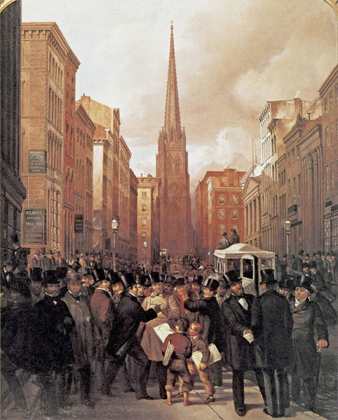 Wall Paper Painting - Wall Street 1857 by James H Cafferty