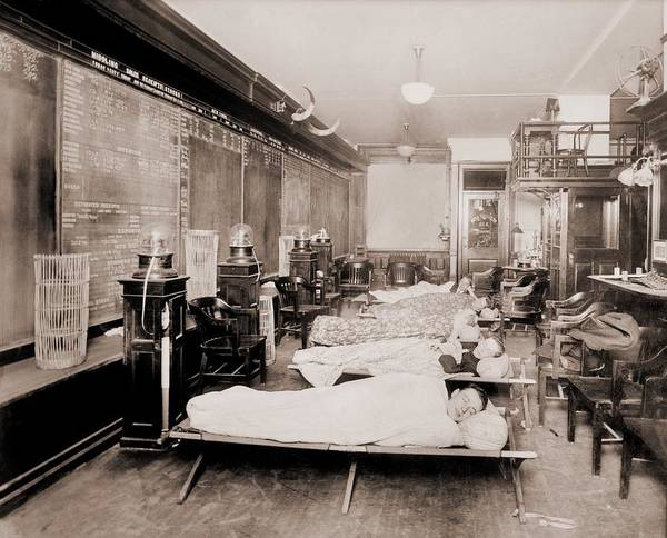 Bookkeeper Photograph - Wall Street Clerks Sleeping In Office by Everett