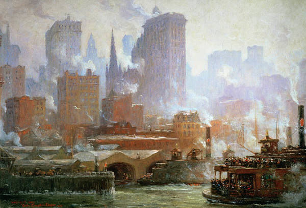 Manhattan Skyline Painting - Wall Street Ferry Ship by Colin Campbell Cooper