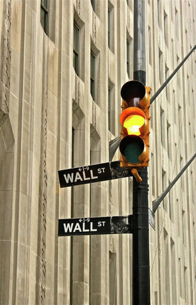 Text Photograph - Wall Street Traffic Light by Oonat