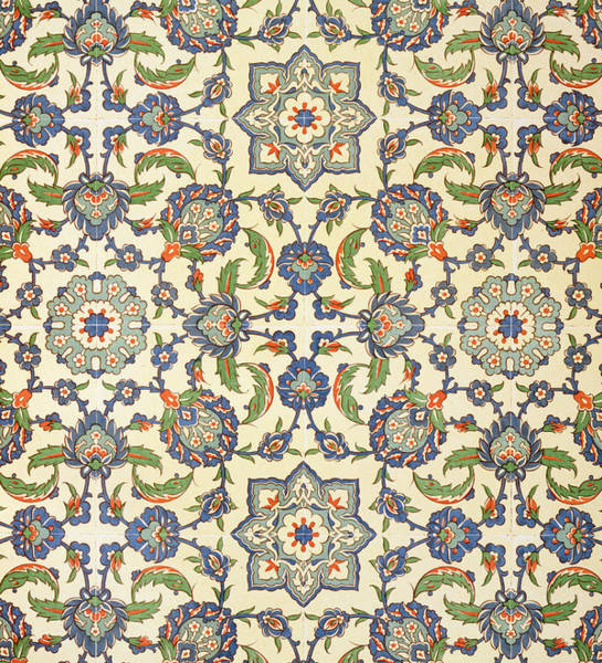 Tile Drawing - Wall Tiles Of Qasr Rodouan by Emile Prisse d'Avennes