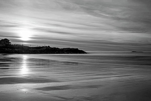 Photograph - Wallis Sands Beach At Sunrine Rye Nh Black And White by Toby McGuire