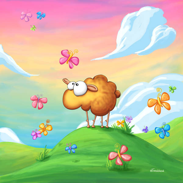 Insect Digital Art - Wallo The Sheep - Pink by Tooshtoosh