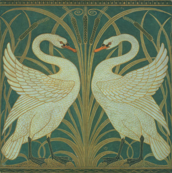 Wall Art - Painting - Wallpaper Design For Panel Of Swan Rush And Iris by Walter Crane