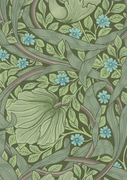 Woodblock Painting - Wallpaper Sample With Forget-me-nots by William Morris