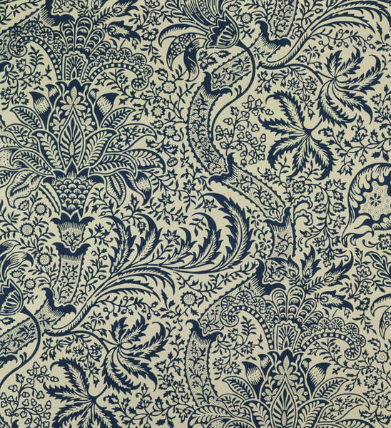 Floral Design Drawing - Wallpaper With Navy Blue Seaweed Style Design by William Morris