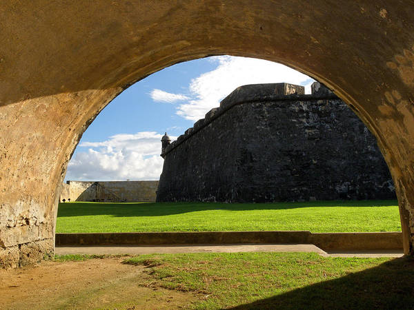 Sentry Box Photograph - Walls Of San Felipe Del Morro Viewed Through  An Arch by George Oze