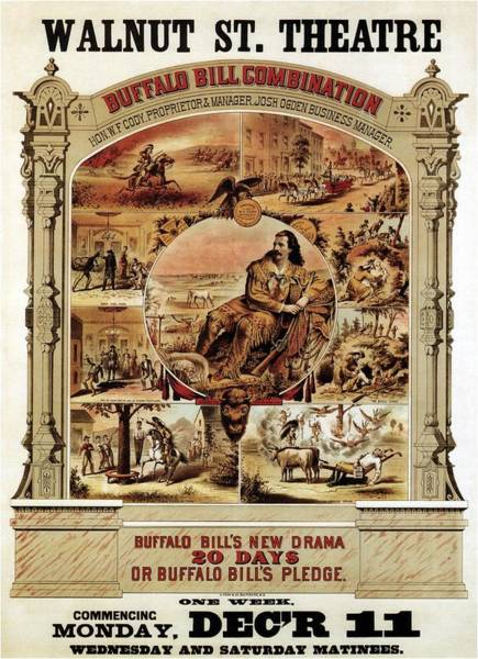Walnut Mixed Media - Walnut St. Theatre - Buffalo Bill Combination - Retro Travel Poster - Vintage Poster by Studio Grafiikka