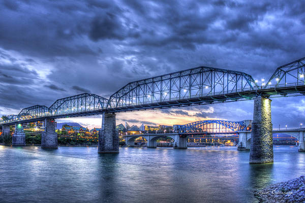 Photograph - Walnut Street Pedestrian Bridge Sunset Chattanooga Tennessee Art by Reid Callaway