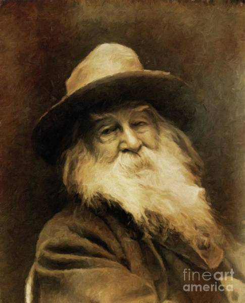 Poetry Painting - Walt Whitman, Literary Legend By Mary Bassett by Mary Bassett