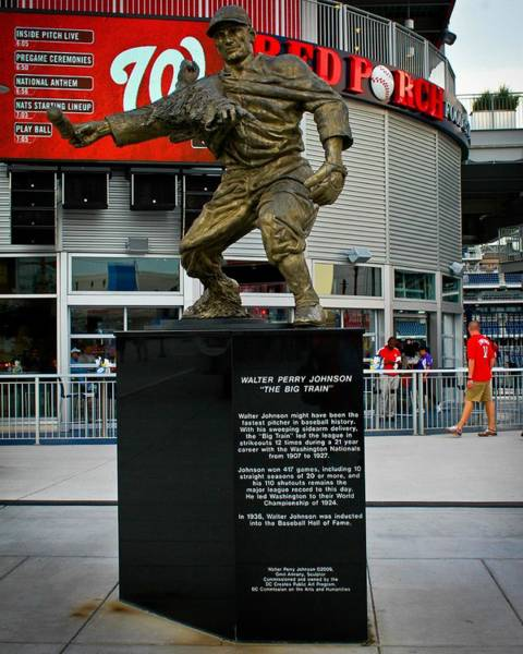 National Baseball Hall Of Fame Photograph - Walter Johnson Monument, Nationals Park by Positive Images