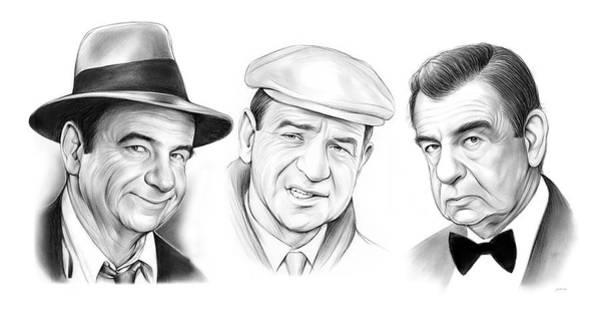 Comedy Wall Art - Drawing - Walter Matthau Trio by Greg Joens