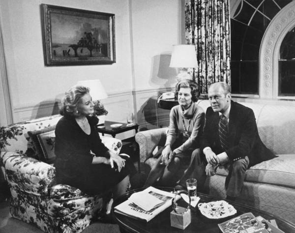 1976 Photograph - Walters Interviews The Fords by Underwood Archives