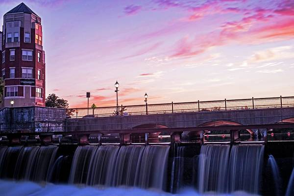 Photograph - Waltham Ma Charles River Dam At Sunset by Toby McGuire