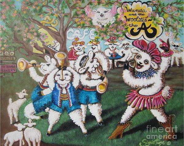 Painting - Chloe The Flying Lamb Productions    Wanda And The Woolites Harmoniously Win Their Audience  by Sigrid Tune