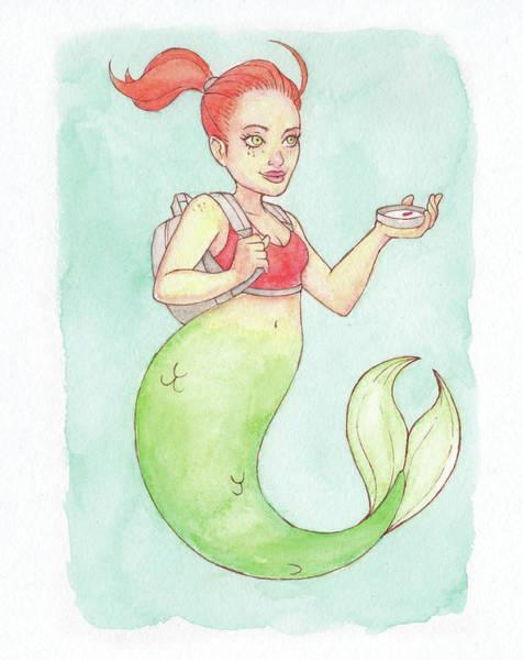 Inking Painting - Wanderer Mermaid - Mermay 2018 by Armando Elizondo