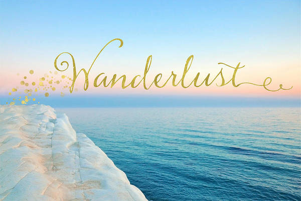 Words Mixed Media - Wanderlust, Santorini Greece Ocean Coastal Sentiment Art by Tina Lavoie