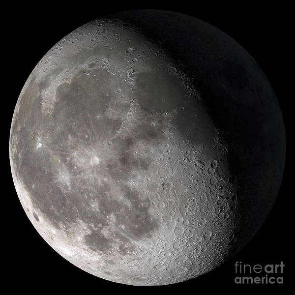 Satellite Photograph - Waning Gibbous Moon by Stocktrek Images