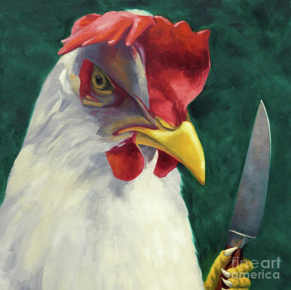 Social Commentary Painting - Wanna Play Chicken? by Judy Sherman