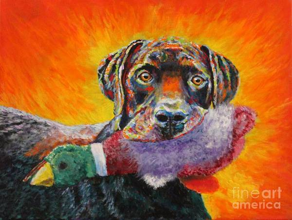 Painting - Wannabe Retriever Great Dane by Bob Williams