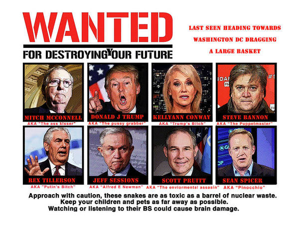 Trump Digital Art - Wanted  by Joe  Palermo